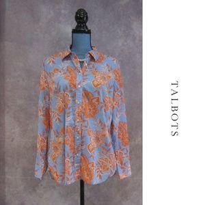 Talbots Blue & Orange Floral Print Blouse Size M
